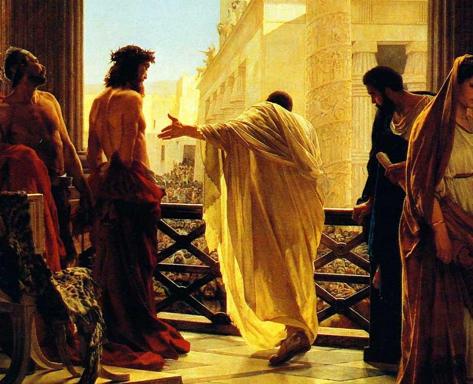 'Ecce Homo', obraz Antonio Ciseriego, przedstawiający Piłata i Chrystusa