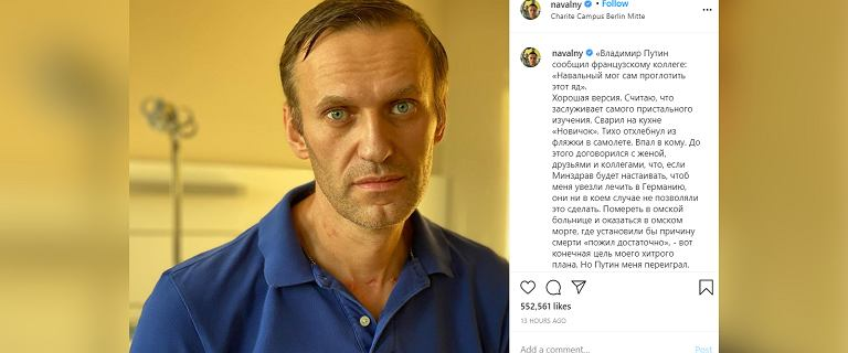 Nawalny wyszedł ze szpitala. Opublikował zdjęcie i złośliwy komentarz o Putinie