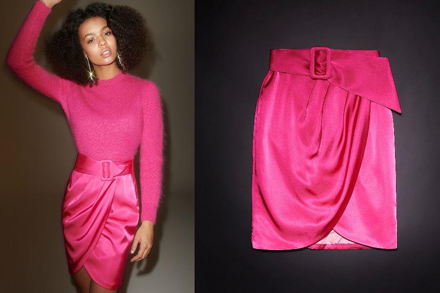 kopertowa spódnica o satynowym wykończeniu w różowym kolorze z Reserved