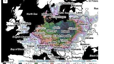 Mapa: dokąd dojedziesz pociągiem z Warszawy w ciągu 22 godzin