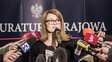 Rzecznik Prokuratury Krajowej Ewa Bialik podczas konferencji prasowej.