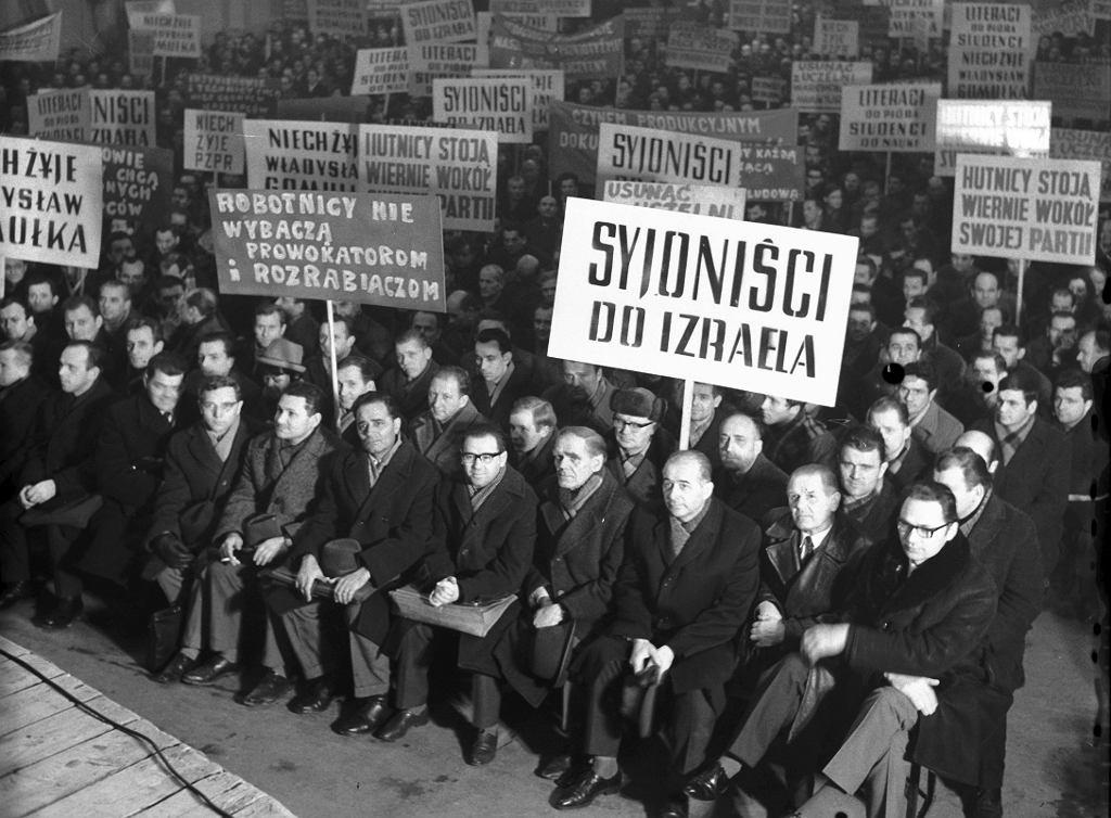 Wiec poparcia dla antysyjonistycznej polityki partii po zamieszkach marcowych w Hucie Lenina, 1968 r.