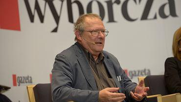Wybory Parlamentarne 2015. Red. Adam Michnik podczas debaty w redakcji gazety Wyborczej