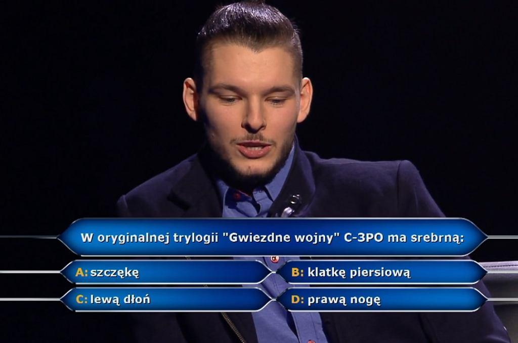 Milionerzy: Bartosz Kołecki zrezygnował z gry na pytaniu o Gwiezdne Wojny