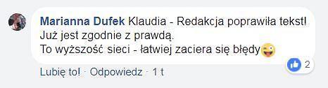 Komentarz Marianny Dufek na Facebooku