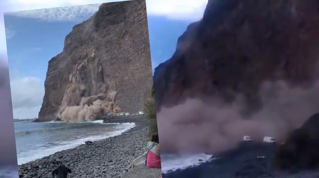 Wyspy Kanaryjskie. Część klifu na wyspie La Gomera runęła do morza. Zasypała plażę i drogę