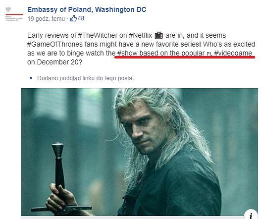 Niesławny wpis polskiej ambasady, która stwierdziła, że 'Wiedźmin' to serial oparty na grze wideo