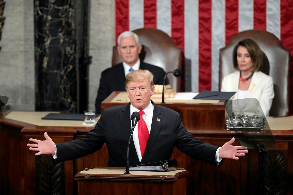 5.02.2019, prezydent USA Donald Trump wygłasza przed Kongresem orędzie o stanie państwa.