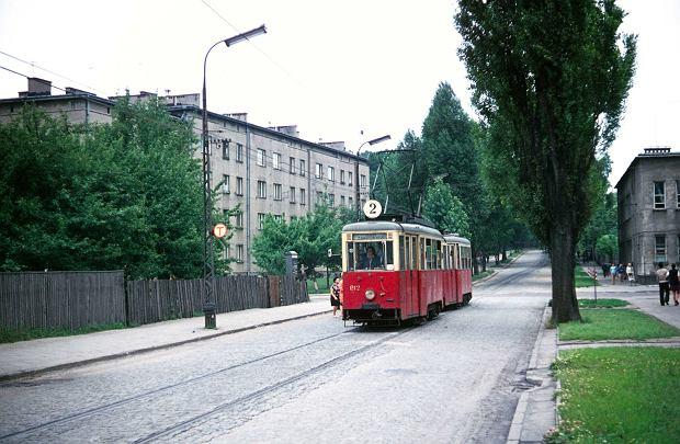 Tramwaj linii 2 na ul. Łukasińskiego na wysokości ul. Prusa - tramwaje kursowały tędy w latach 1959-71