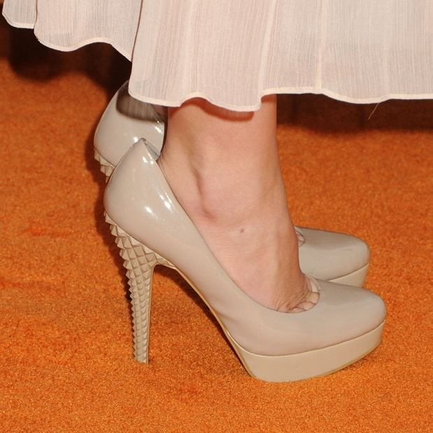 Maddie Hasson's shoes  19th Annual Race To Erase MS held at the Hyatt Regency Century Plaza Hotel, Century City, California, USA,  18th May 2012. detail too big patent heels feet beige nude  CAP/ADM/BP ??Byron Purvis/AdMedia/Capital Pictures