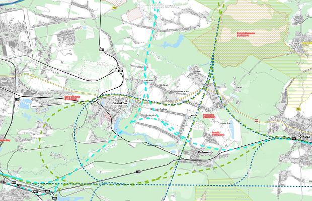 Mapa dotycząca Gminy Bolesław dotycząca przebiegu planowanych tras nr 111  i 113