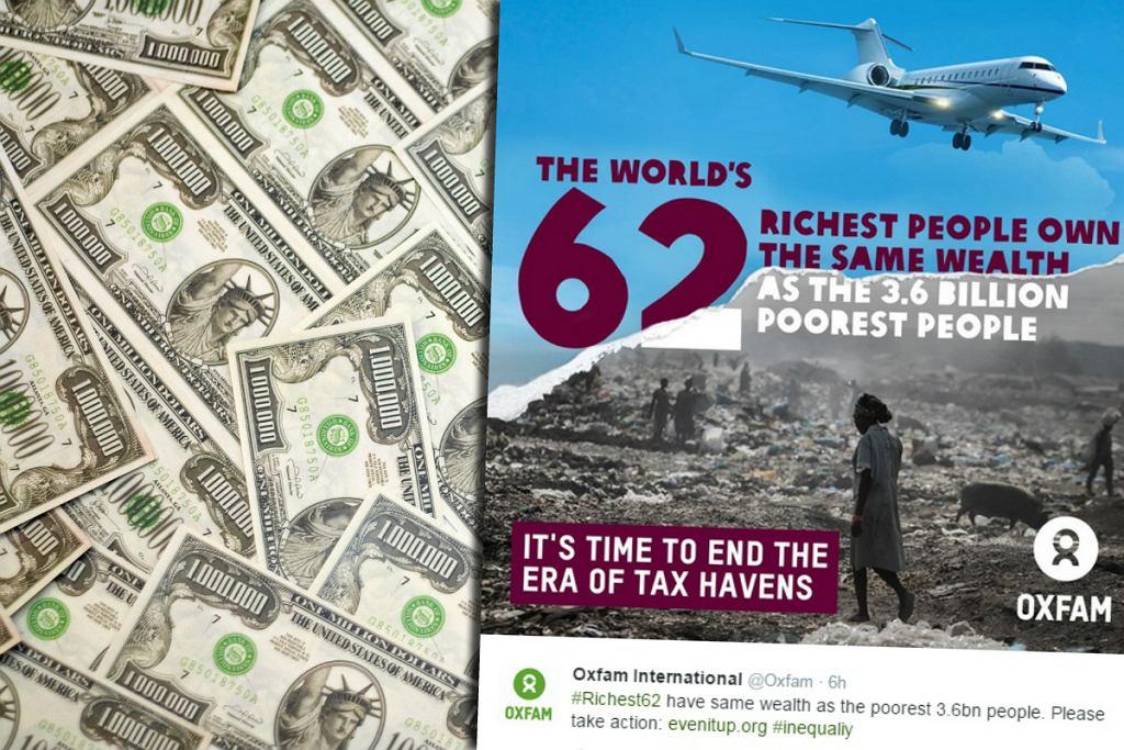 62 bogaczy posiada więcej, niż reszta mieszkańców świata