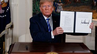 Donald Trump, zdjęcie z maja 2018 roku, kiedy USA wycofały się z porozumienia nuklearnego