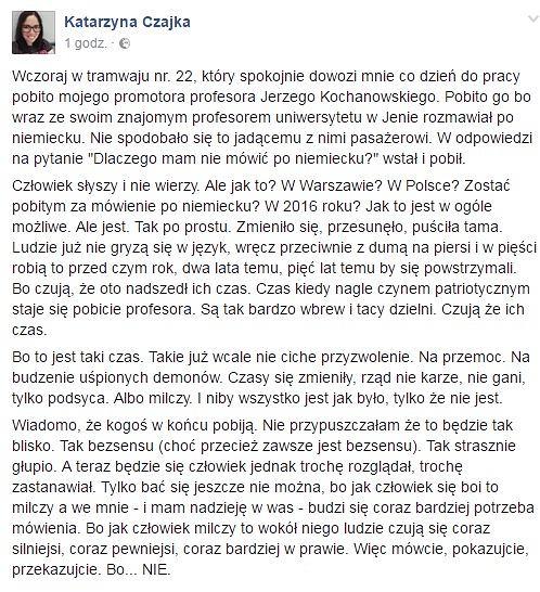 Pobicie warszawskiego profesora