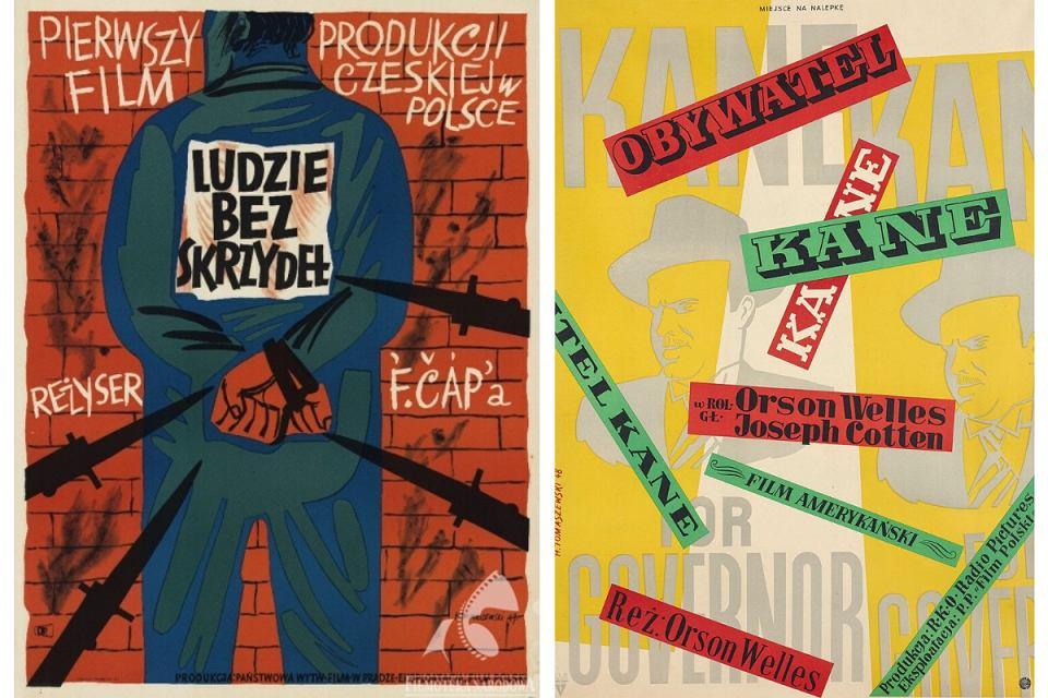 Plakaty teatralne Henryka Tomaszewskiego: Ludzie bez skrzydeł i Obywatel Kane.