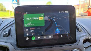 Interfejs Android Auto w samochodzie