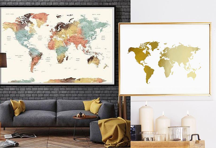 Plakat / obraz z mapą świata