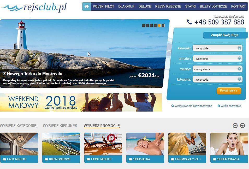 Strona rejsclub.pl