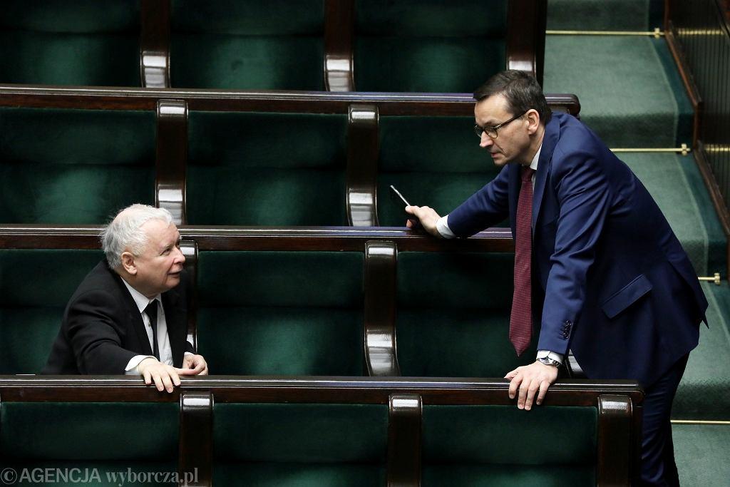 Jarosław Kaczyński i premier Mateusz Morawiecki w Sejmie, 2020 r.