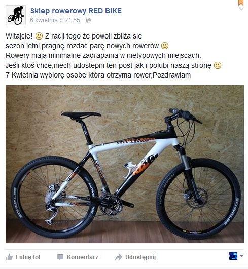 Fałszywy profil sklepu rowerowego