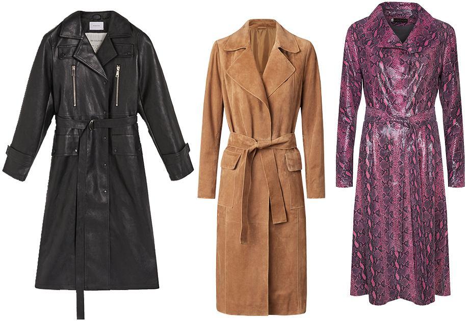 Skórzany płaszcz znajdziesz w kolekcji Reserved, Mango czy Huzior