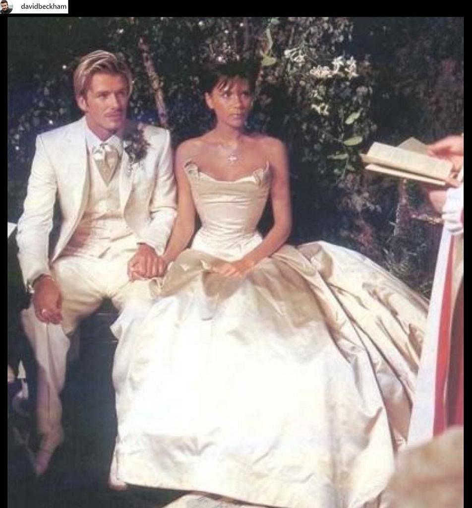 Victoria i David Beckham w dniu ślubu