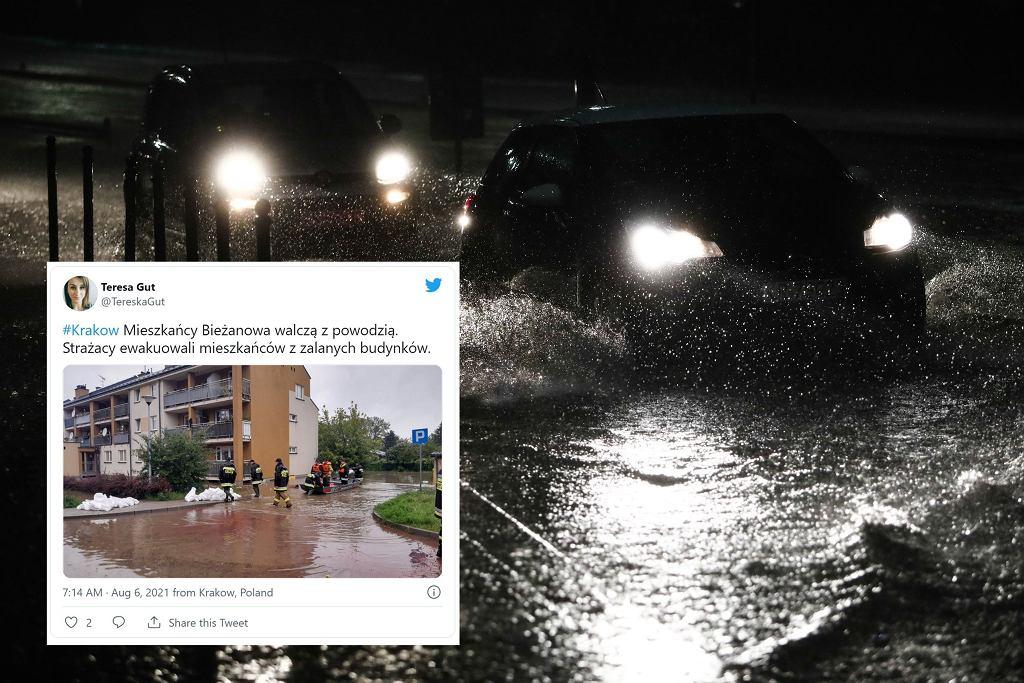 Ulewa w Krakowie. Interwencje strażaków