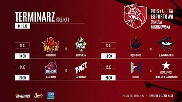 Terminarz 1. kolejki dywizji mistrzowskiej Polskiej Ligi Esportowej.