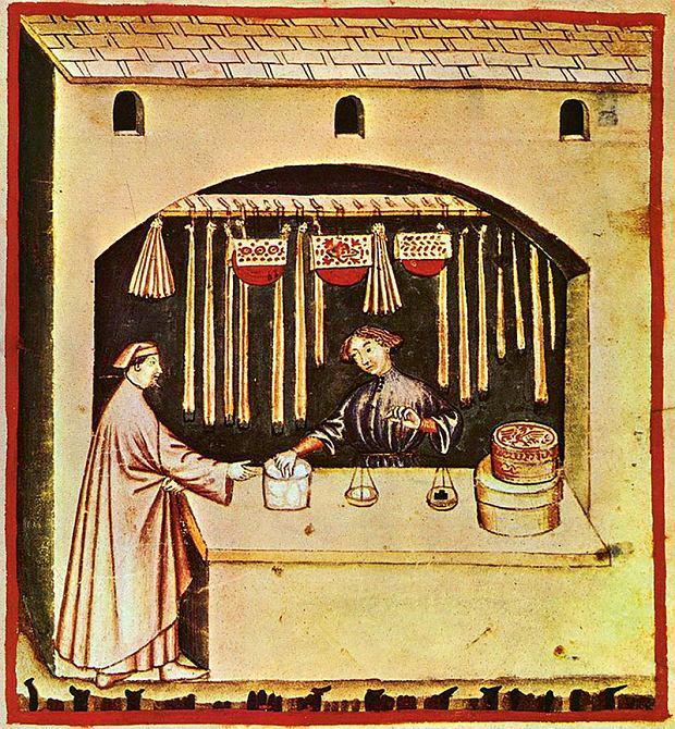Kupiec korzenny sprzedający cukier, Tacuinum Sanitatis, XIV wiek