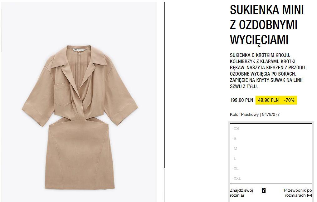 sukienka piaskowa Zara nowoczesna