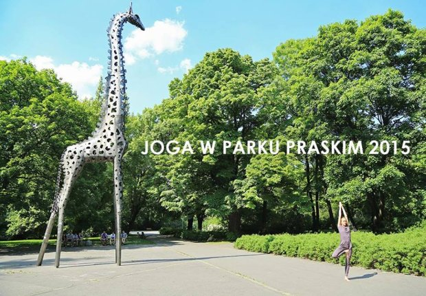Joga na Pradze, w Parku Praskim