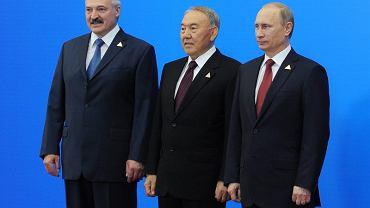 Prezydent Białorusi Aleksander Łukaszenka, Kazachstanu Nursułtan Nazarbajew i Rosji Wałdimir Putin