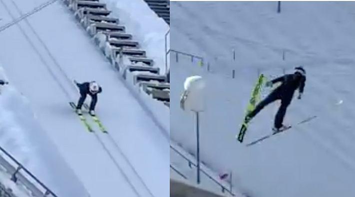 Anders Fennamel (Norwegia) podczas pierwszego skoku po kontuzji kolana z 2019 roku. Źródło: Twitter