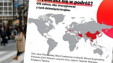 GIS odradza podróże do dziewięciu krajów w związku z koronawirusem