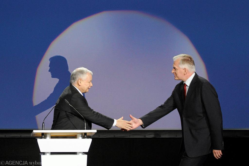 Prezes PiS Jarosław Kaczyński i jego koalicjant Jarosław Gowin 'Zgromadzenia Obywatelskiego' pod hasłem 'Czas na zmiany'. Warszawa, 19 lipca 2014