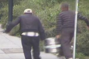 Próbowali ukraść beczkę z piwem, ledwo trzymali się na nogach.Ten film rozśmieszył nawet policjantów
