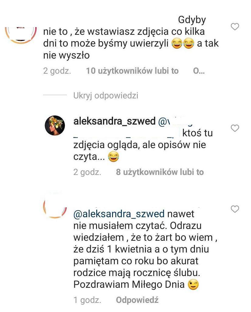 Komentarze na Instagramie Oli Szwed