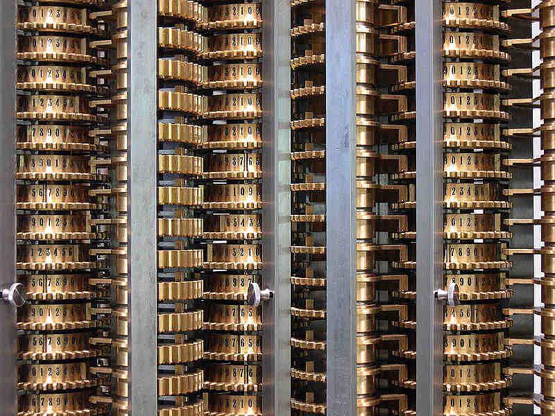 Maszyna różnicowa - odtworzona w londyńskim muzeum według oryginalnych planów. Protoplasta maszyny analitycznej