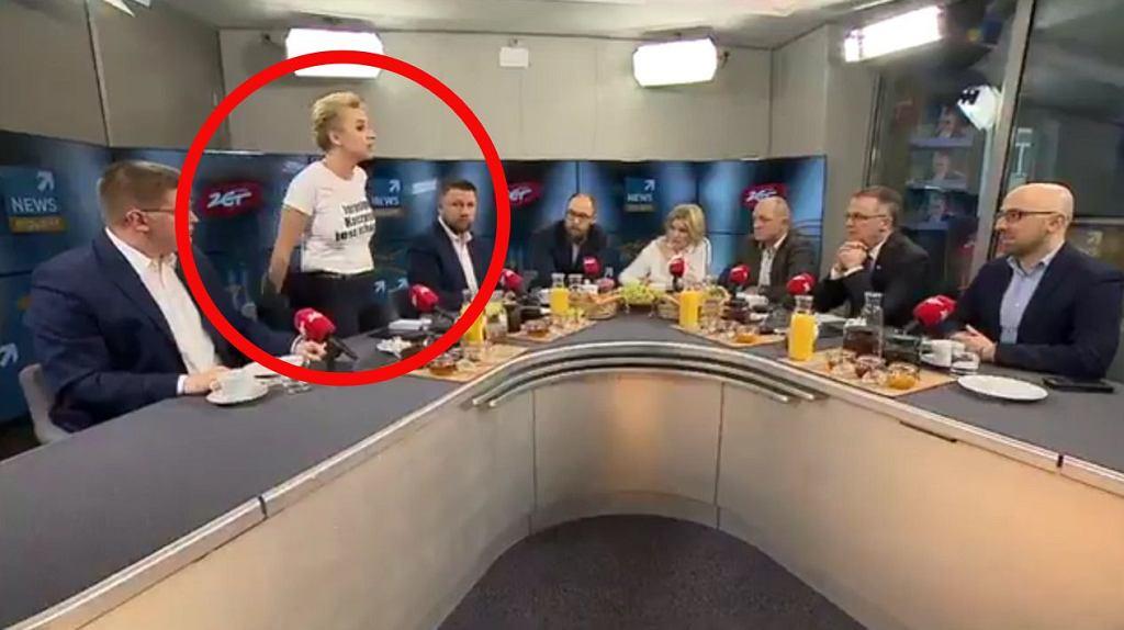 Scheuring-Wielgus z koszulką o Kaczyńskim
