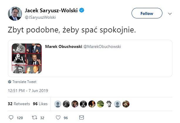 Wpis Jacka Saryusza-Wolskiego na Twitterze