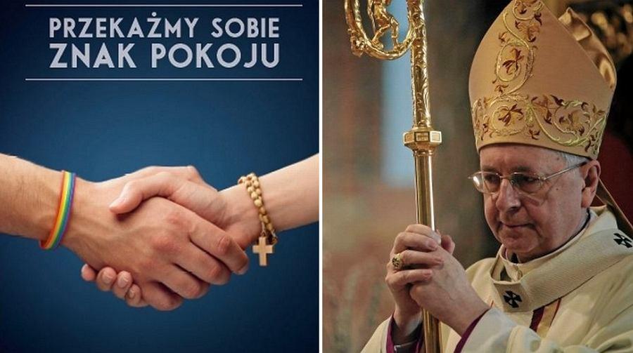 Plakat akcji ''Przekażmy sobie znak pokoju'' i abp Stanisław Gądecki