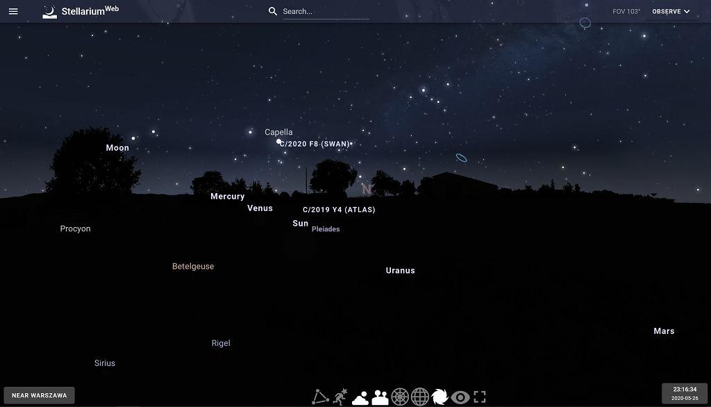 Wizualizacja niebo w programie Stellarium