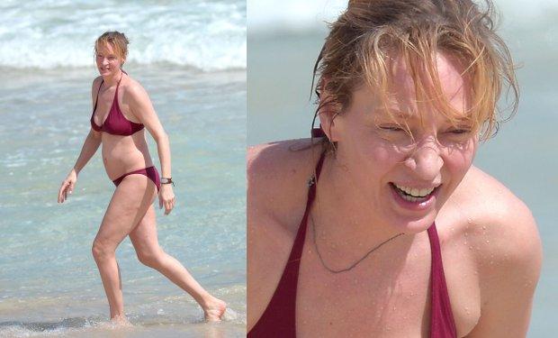 Uma Thurman, bikini, ciało, brzuch