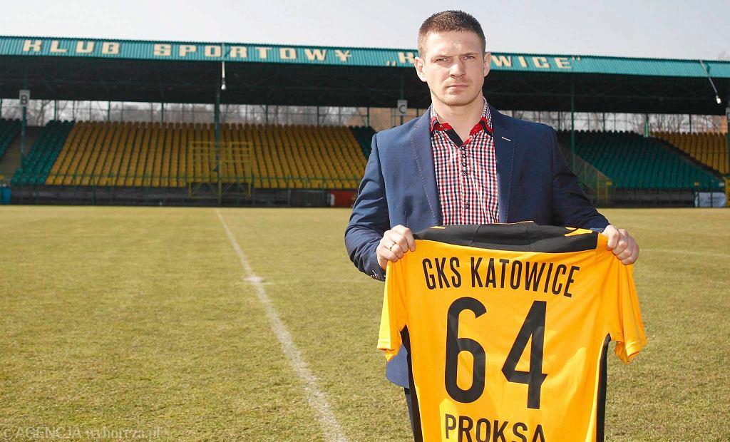 Grzegorz Proksa podczas prezentacji w GKS Katowice