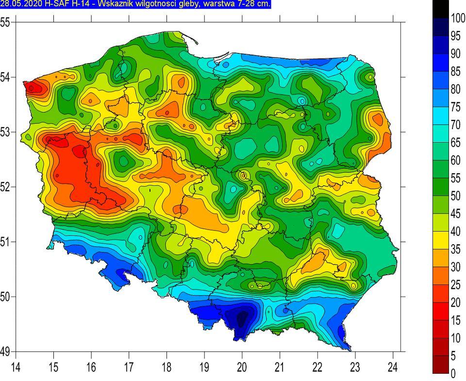 Procentowa wilgotność gleby na głębokości 7-28 cm 28 maja 2020 r.