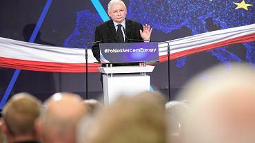 Prezes PiS Jarosław Kaczyński podczas konwencji wyborczej swojej partii. Lublin, 13 kwietnia 2018