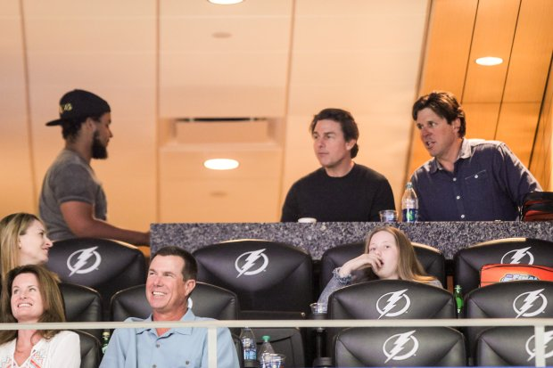 April 5, 2015: Tom Cruise and son Connor Cruise watch the Maryland Terrapins vs Connecticut Huskies during the NCAA Womens Final Four Semifinal at Amalie Arena, in Tampa, Florida. Pictured here: Tom Cruise, Connor Cruise Mandatory Credit: INFphoto.com Ref: infusdc-08