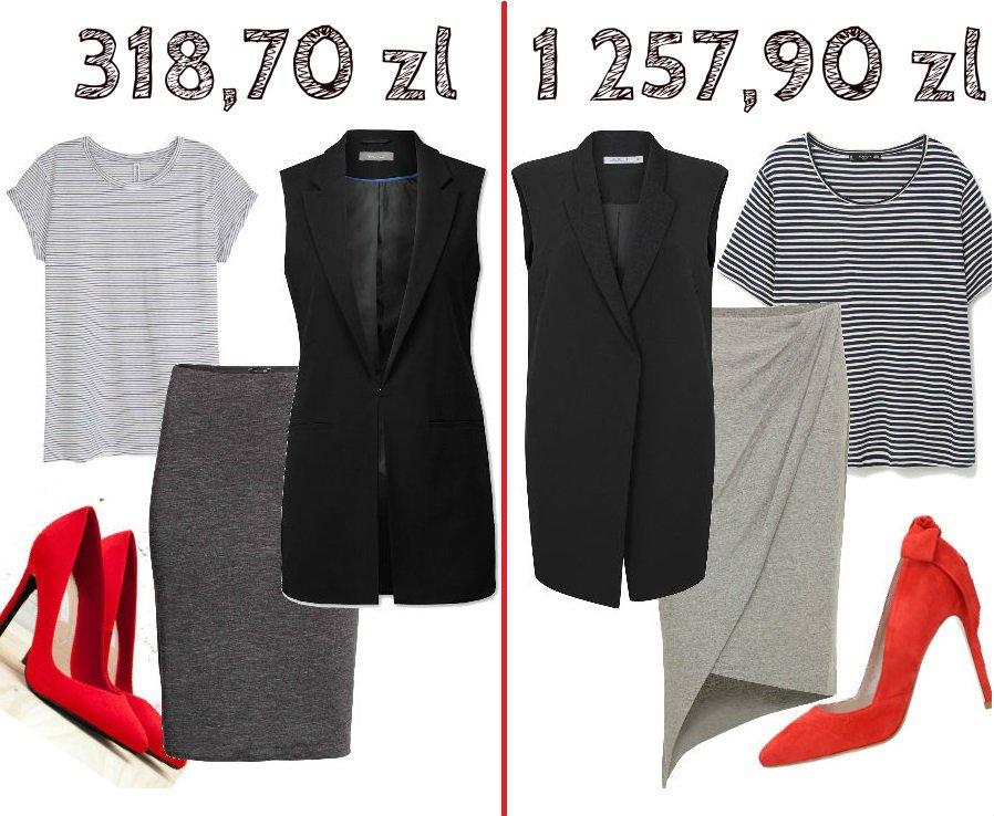Lewa strona: bluzka 29,90 zł H&M bawełna 100%, spódnica 39,90 zł H&M wiskoza 57%, bawełna 38%, elastan 5%, szpilki 99,90 zł Bershka 100% poliester, kamizelka 149 zł C&A poliester 63%, wiskoza 33%, elastan 4%. Prawa strona: bluzka 49,90 zł Mango wiskoza 100%, spódnica 399,90 zł Simple wiskoza 95%, elastan 5%, szpilki Gino Rossi 439 zł kozia welur 100 %, kamizelka 369 zł Taranko poliester 100%