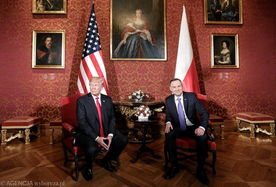 6.07.2017, Warszawa, Donald Trump i Andrzej Duda podczas spotkania na Zamku Królewskim.
