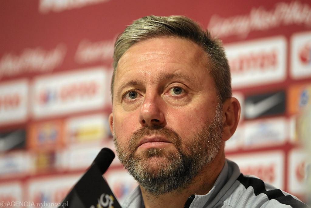 Trener Jerzy Brzeczek podczas konferencji prasowej reprezentacji Polski, przed meczem Polska - Irlandia. Wrocław, 10 września 2018